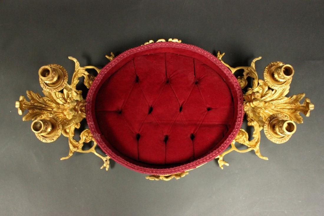 Rococo Style Bronze & Tufted Velvet Jewelry Tray - 6
