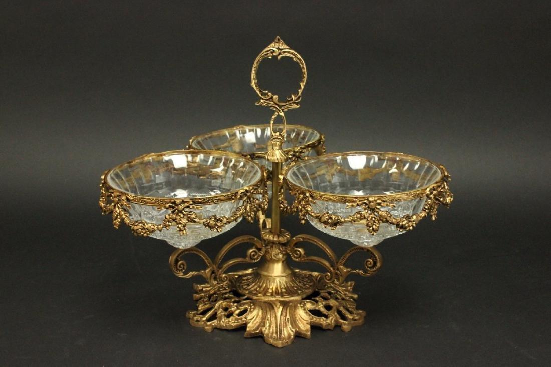 Bronze & Crystal 3-Arm Candy Dish Holder