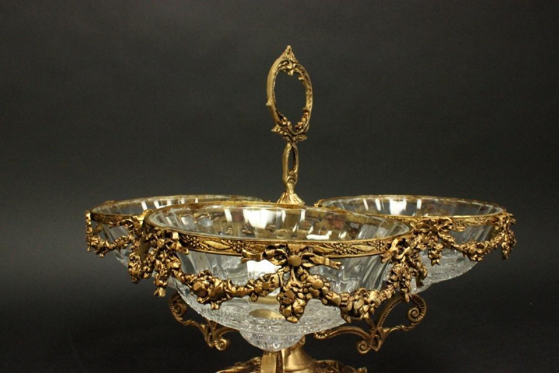 Bronze & Crystal 3-Arm Candy Dish Holder - 4
