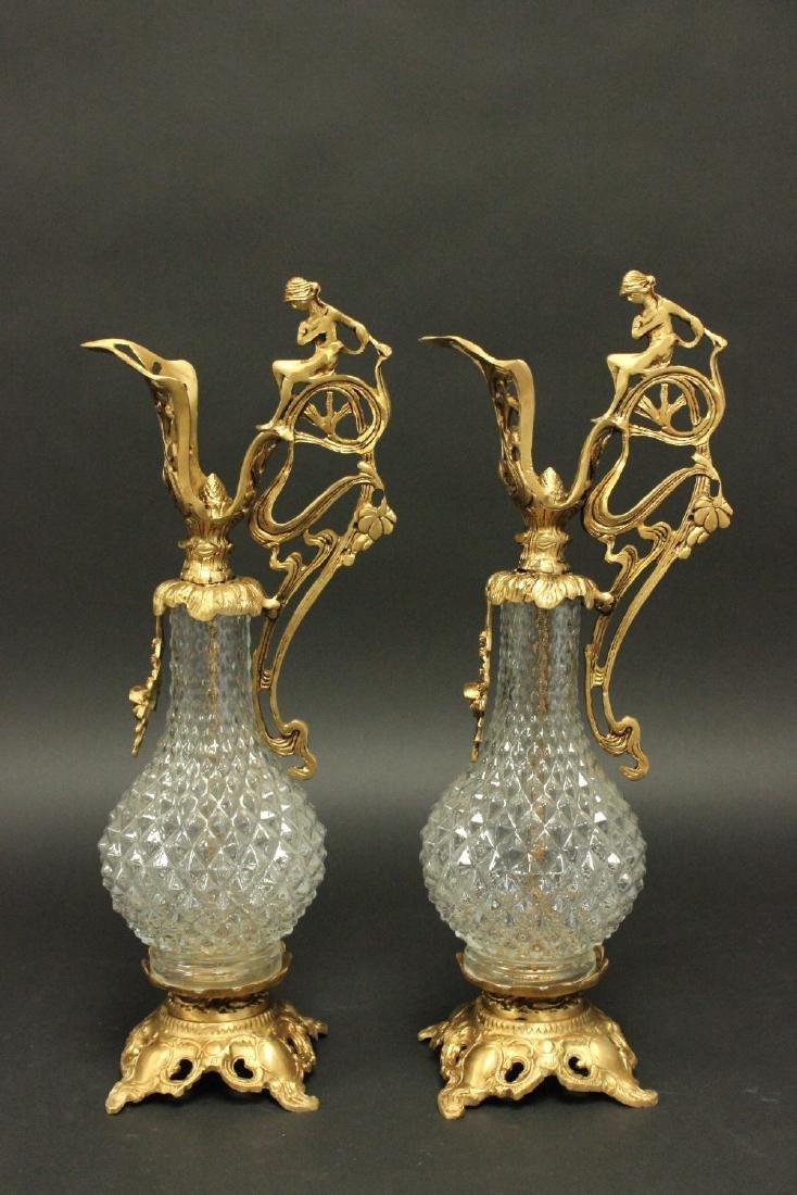 Pair Bronze & Glass Carafes
