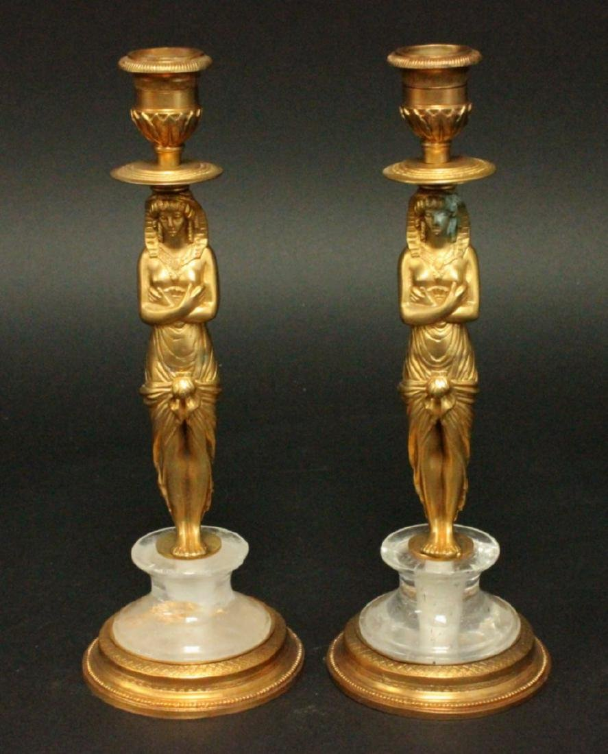 Pair Bronze & Rock Crystal Figural Candlesticks