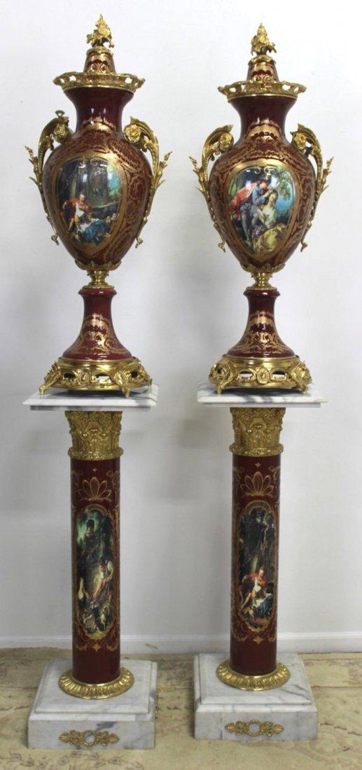 Pr Porcelain & Marble Palace-Size Urns & Pedestals