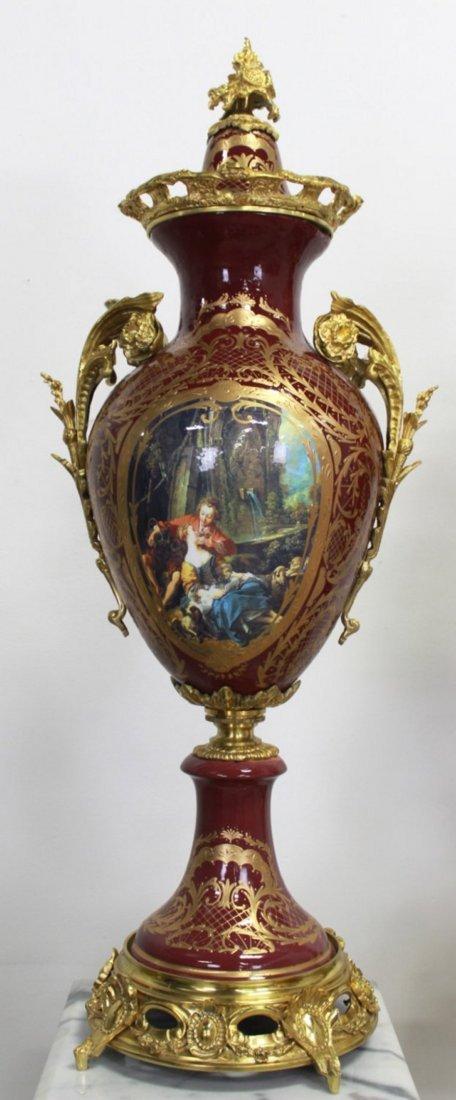 Pr Porcelain & Marble Palace-Size Urns & Pedestals - 2