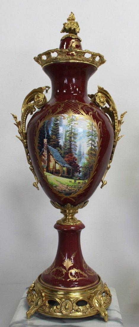 Pr Porcelain & Marble Palace-Size Urns & Pedestals - 5