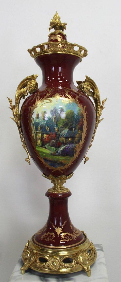 Pr Porcelain & Marble Palace-Size Urns & Pedestals - 7