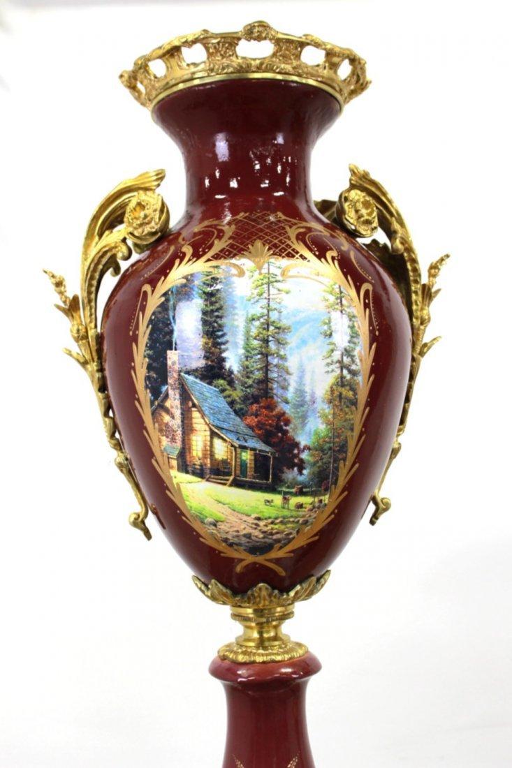 Pr Porcelain & Marble Palace-Size Urns & Pedestals - 8
