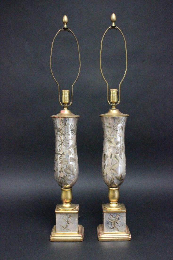 Pair Silvered Reverse Painted Mirrored Lamps