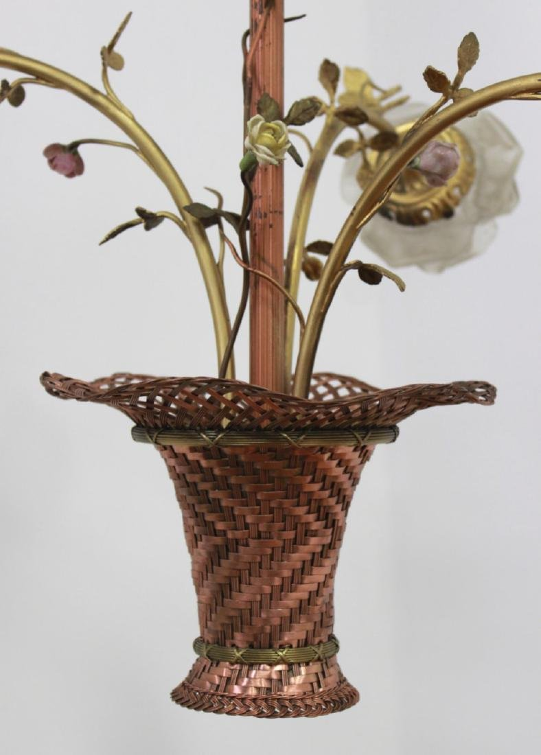 3-Arm Flower Basket Chandelier with Shade - 2