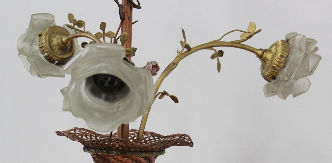 3-Arm Flower Basket Chandelier with Shade - 3