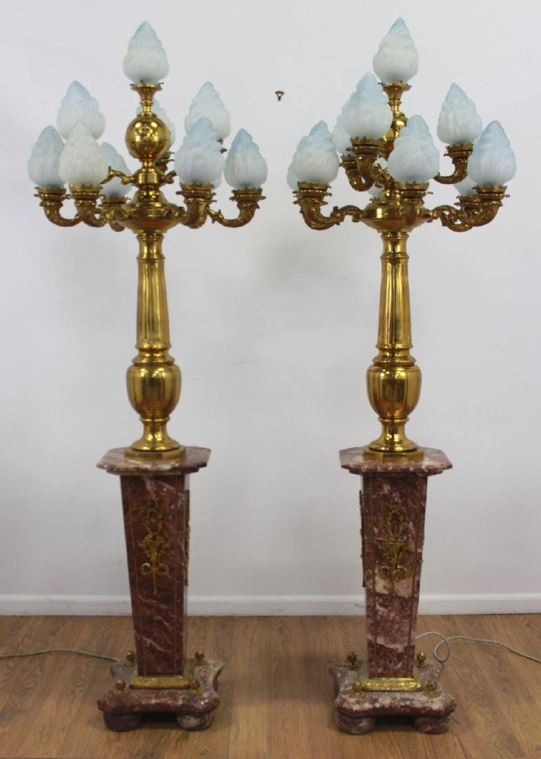 Pair Palace-Size Rouge Marble & Bronze Torcheres