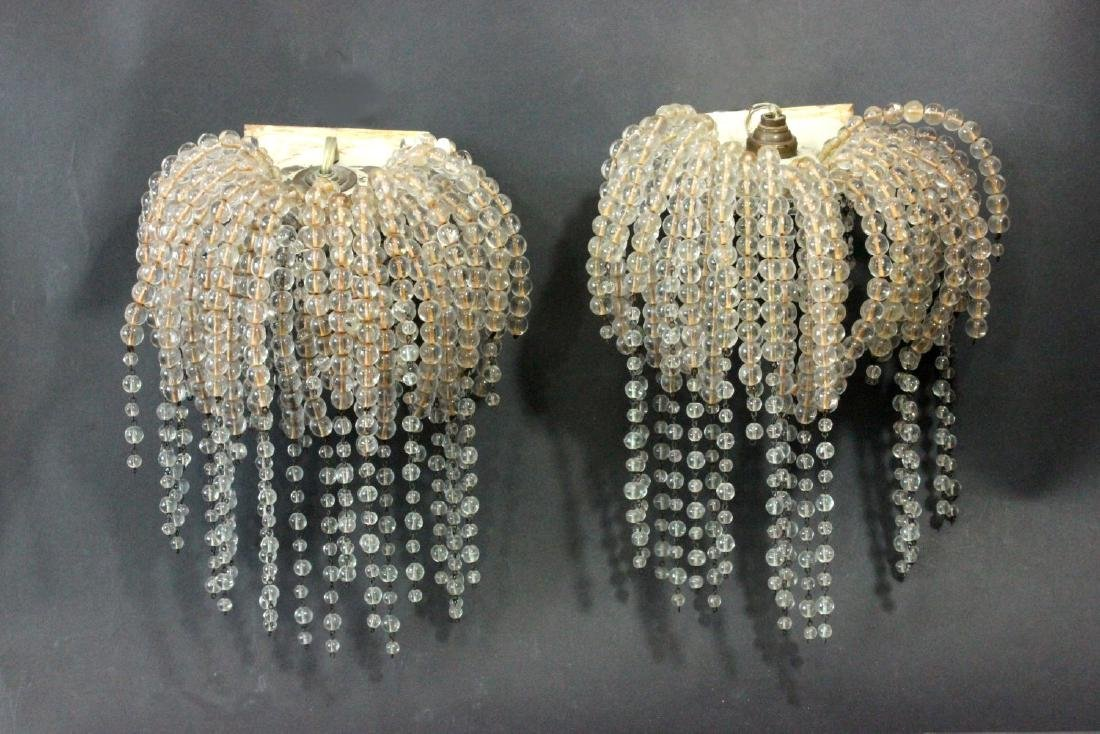 Pair Art Deco Style Waterfall Crystal Sconces