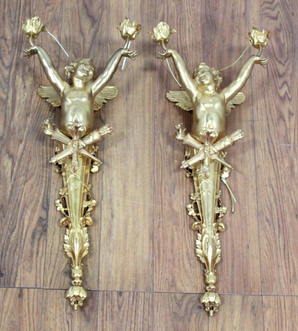 Pair Bronze Figural 2-Arm Wall Sconces