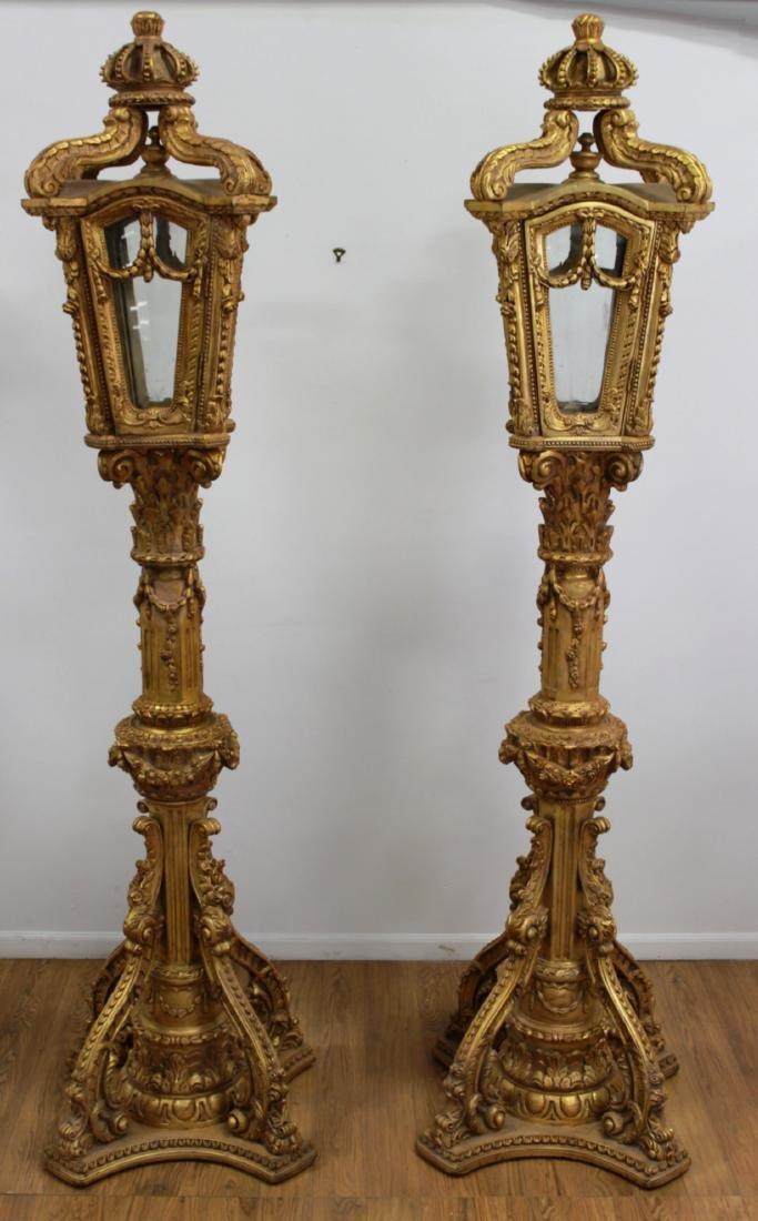 Pair Palace-Size Gilt Lamp Posts - 2