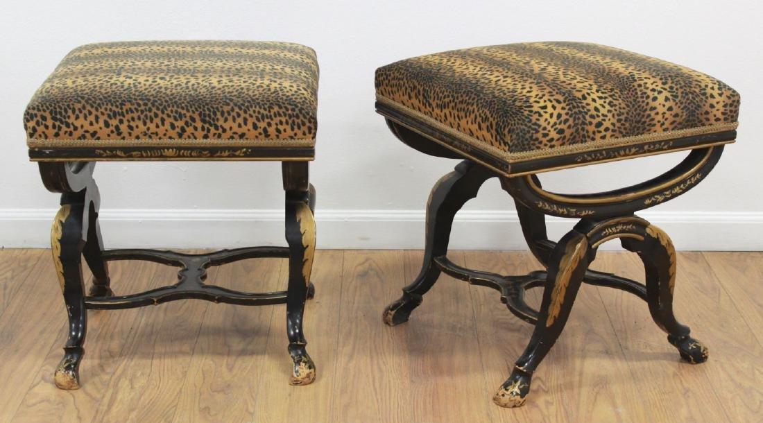 Pair Leopard Skin Design Upholstered Footstools