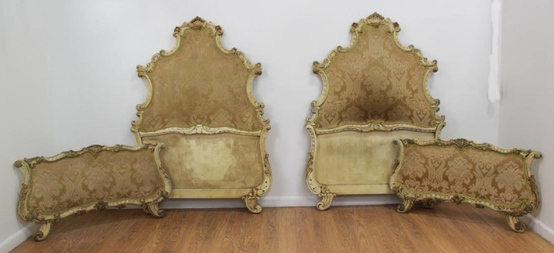Pair Venetian Style Headboards & Footboards Beds