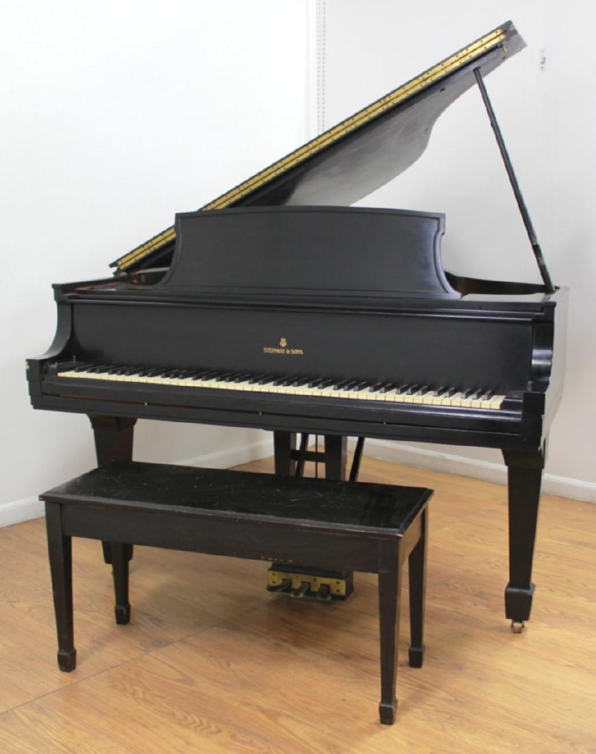 """Steinway Model """"L"""" Ebony Finish Baby Grand Piano"""