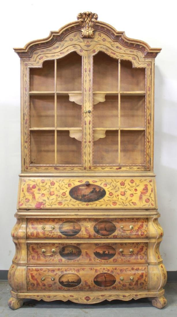 Dutch Style Paint Decorated Secretary/Cabinet