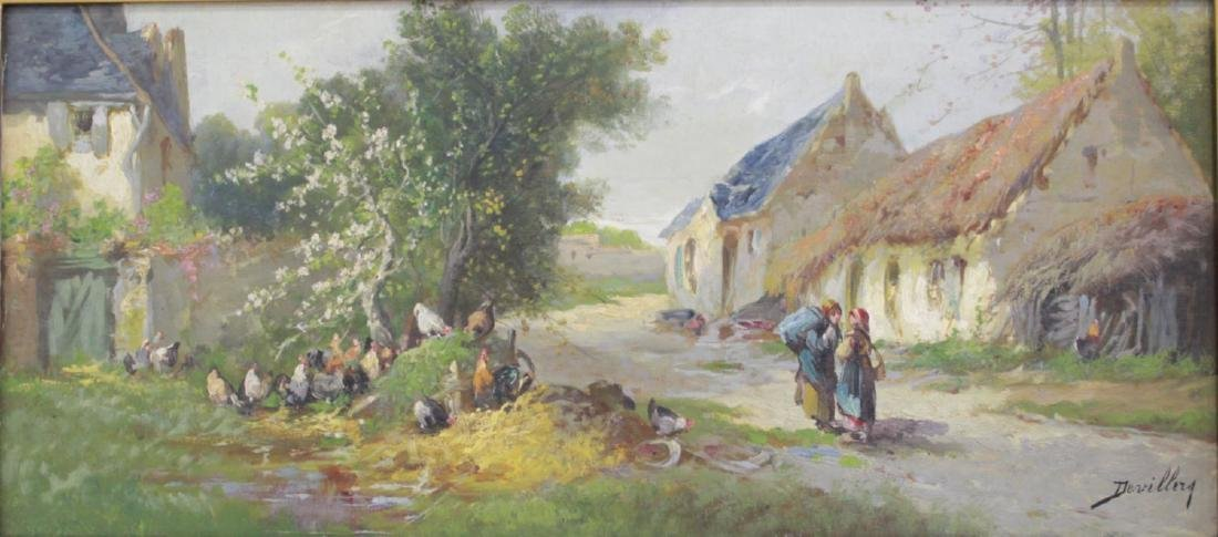 Paul Devillers, Landscape with Figures & Chickens