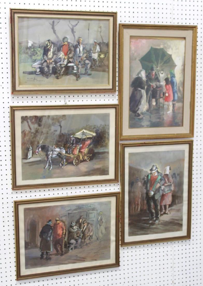 Aniello Eco, 5 Gilt Framed Watercolors