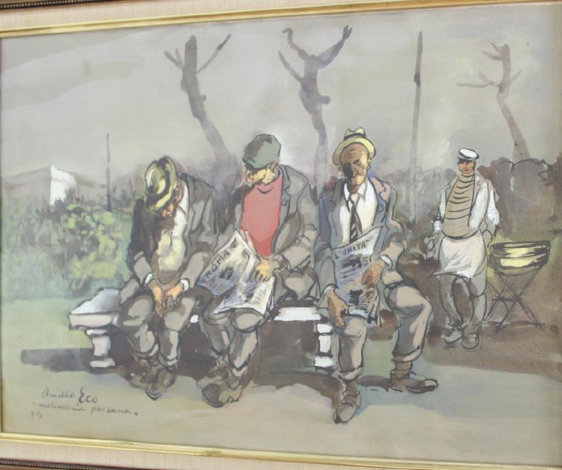 Aniello Eco, 5 Gilt Framed Watercolors - 2