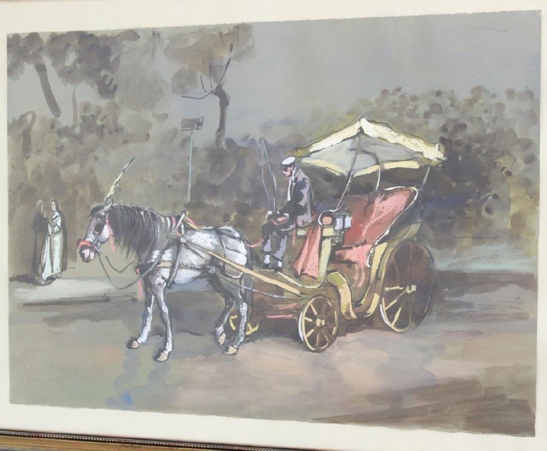 Aniello Eco, 5 Gilt Framed Watercolors - 3
