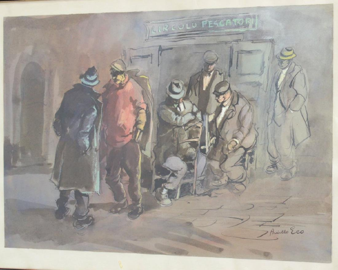 Aniello Eco, 5 Gilt Framed Watercolors - 4