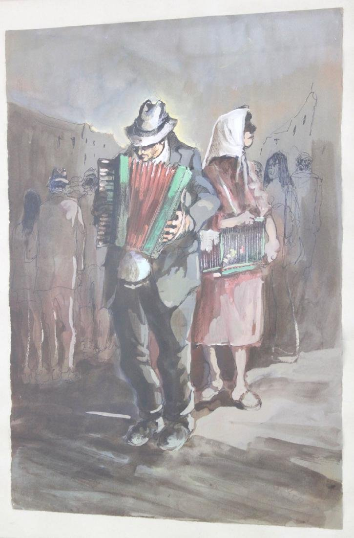 Aniello Eco, 5 Gilt Framed Watercolors - 5