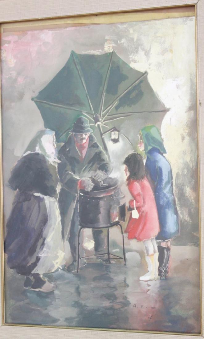 Aniello Eco, 5 Gilt Framed Watercolors - 6