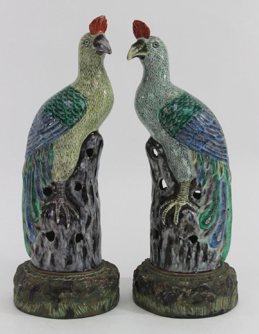 Pair Chinese Porcelain Bird of Paradise Figures