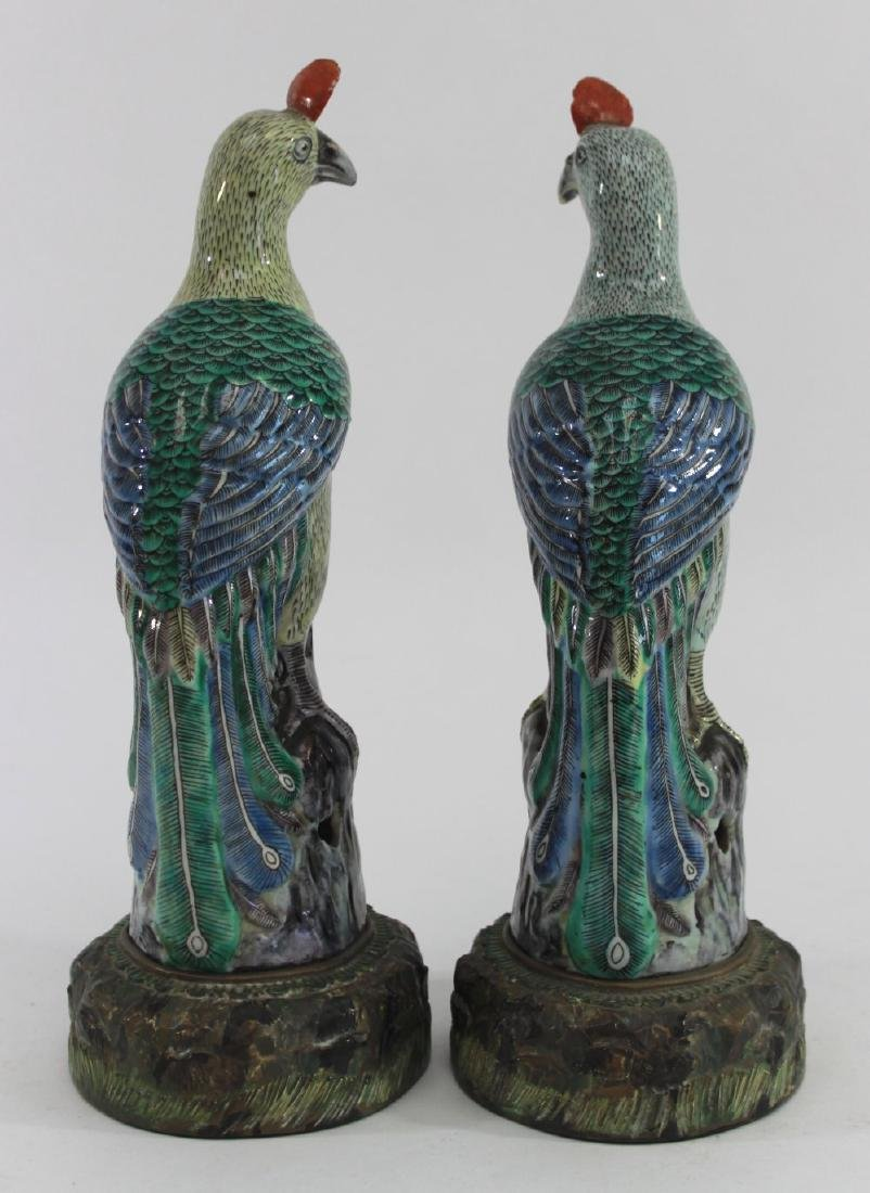 Pair Chinese Porcelain Bird of Paradise Figures - 5