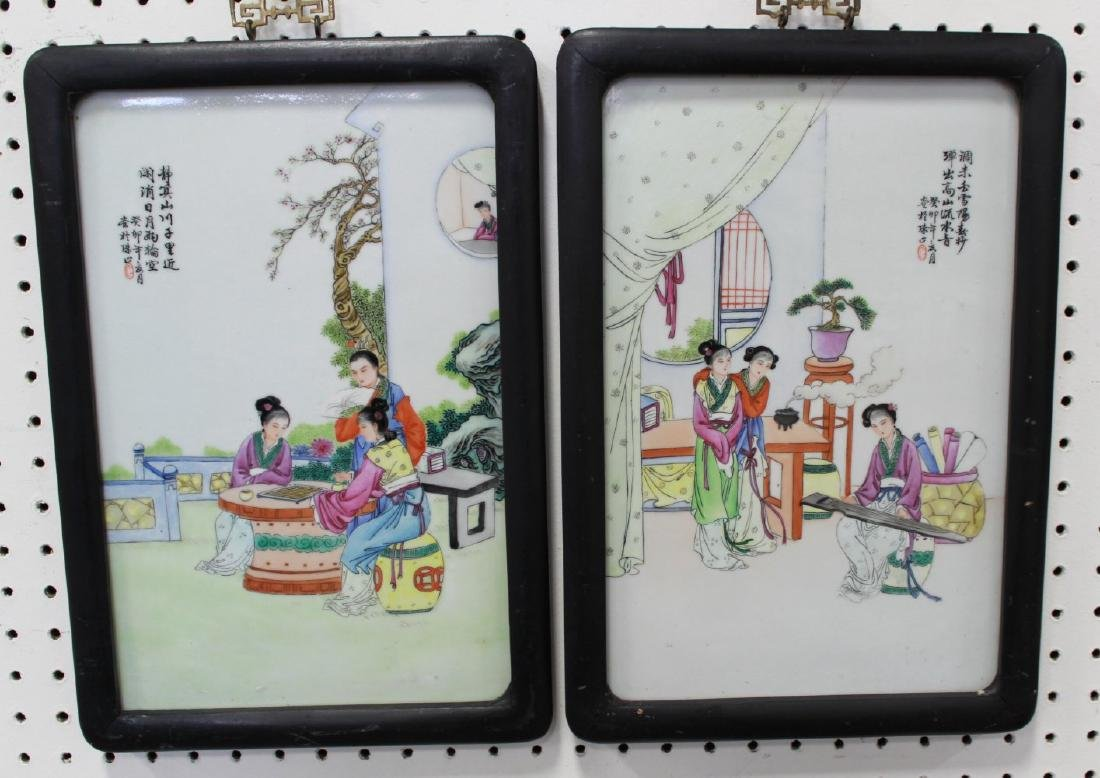 Pair Porcelain Chinese Plaques
