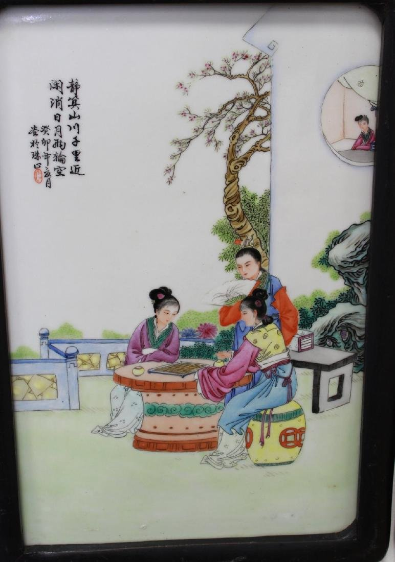 Pair Porcelain Chinese Plaques - 2