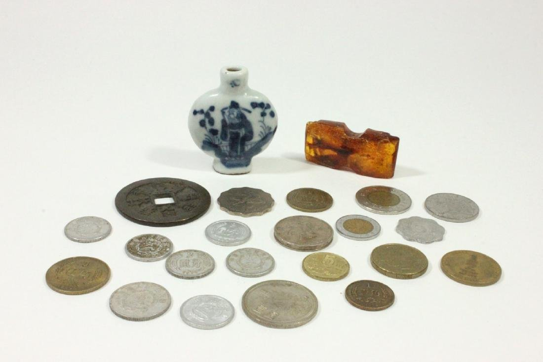 Old Asian Coins, Piece of Amber, & Snuff Bottle