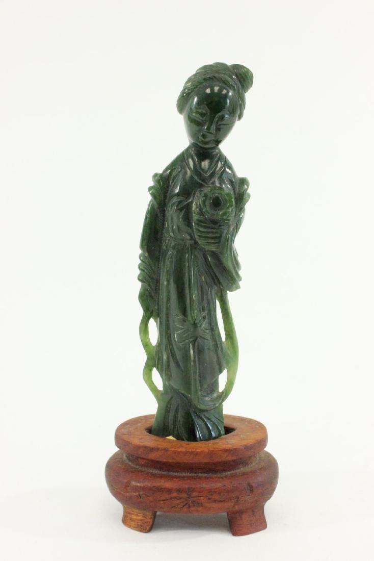 Carved Chinese Jade Guanyin & Wood Pedestal