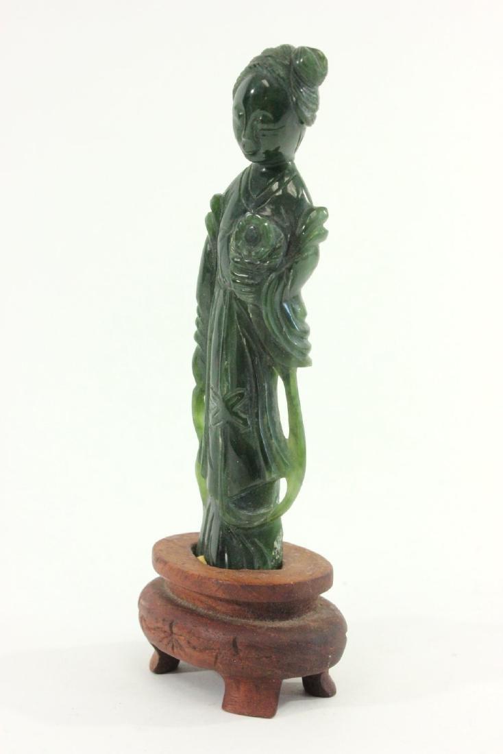 Carved Chinese Jade Guanyin & Wood Pedestal - 3
