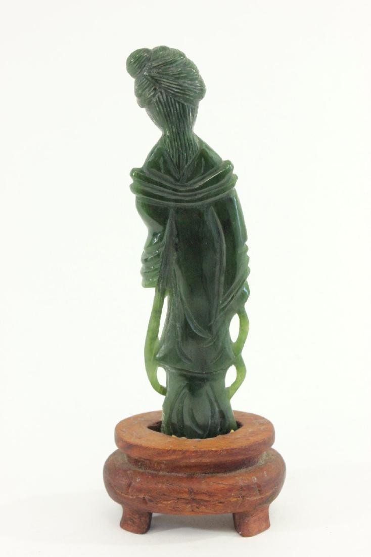 Carved Chinese Jade Guanyin & Wood Pedestal - 4