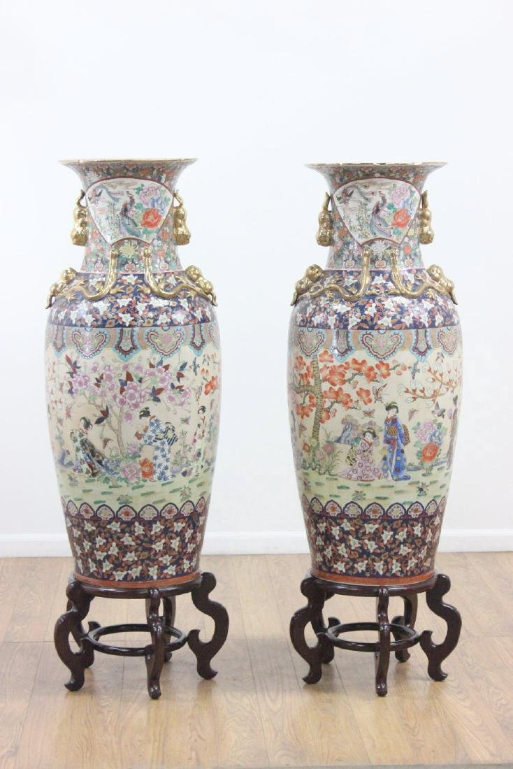 Pair Palace Size Chinese Urns