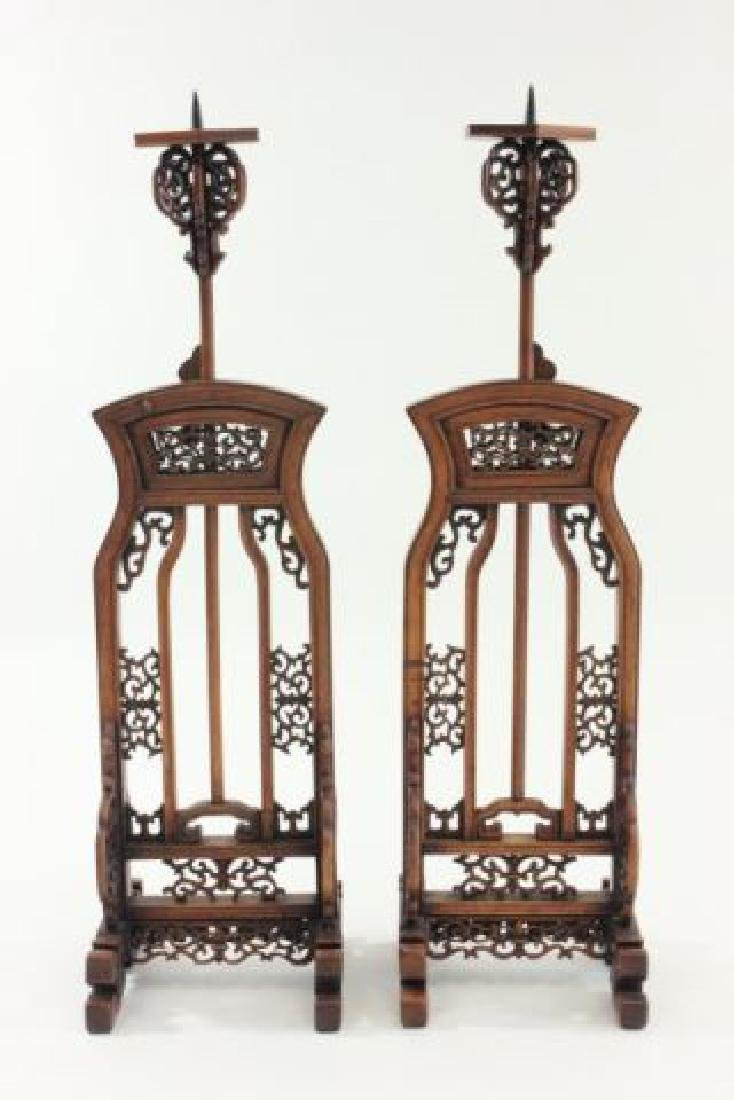:Pair 19th Century Chinese Adjustable Lamp Stands