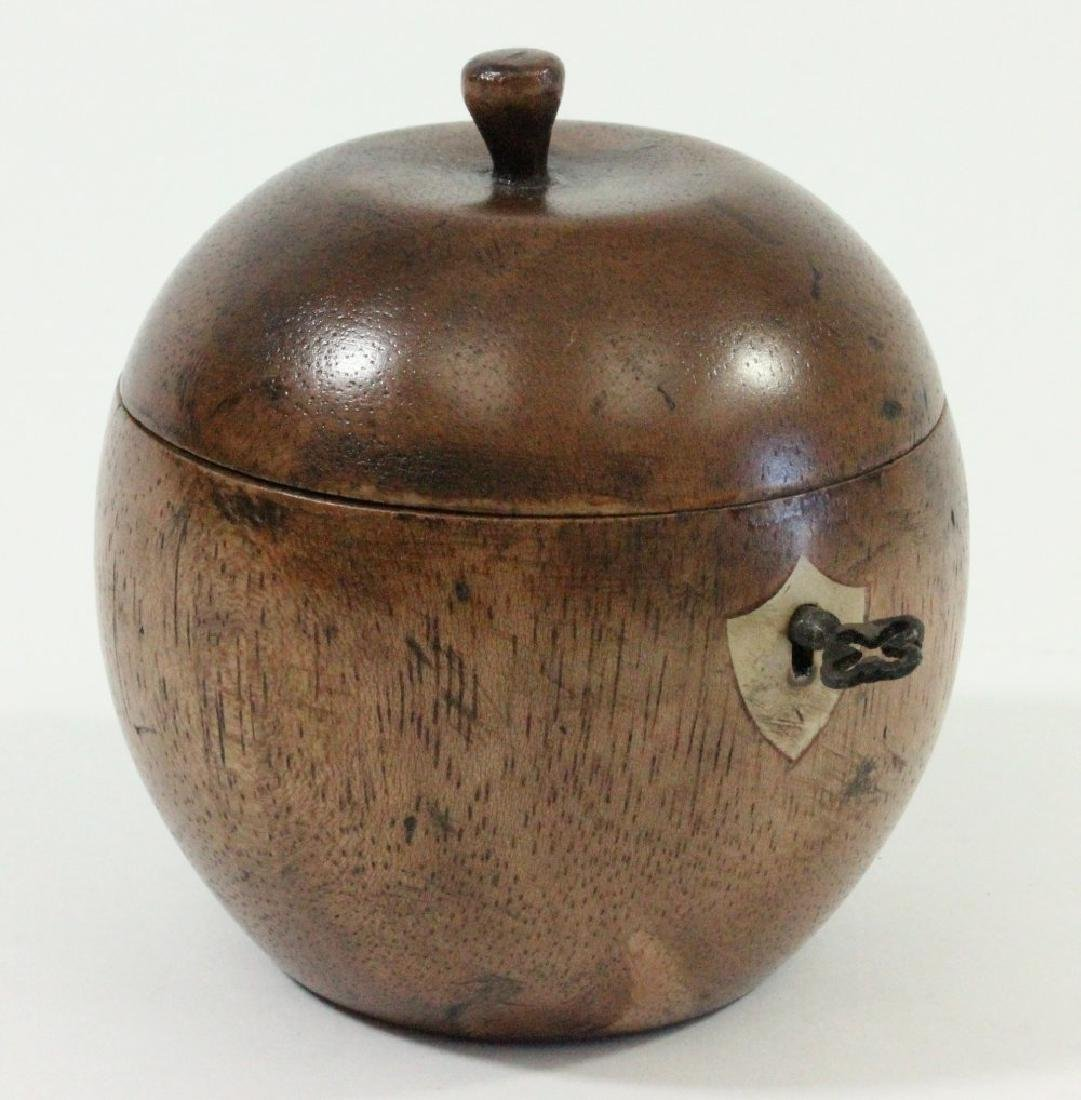 Apple Shape Wood Tea Caddy