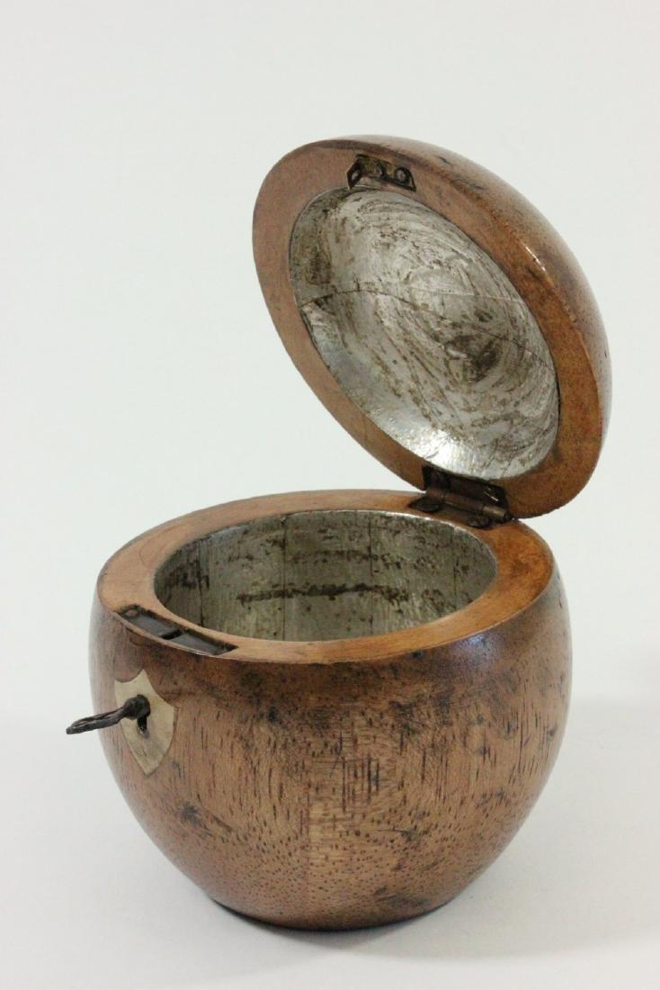 Apple Shape Wood Tea Caddy - 2