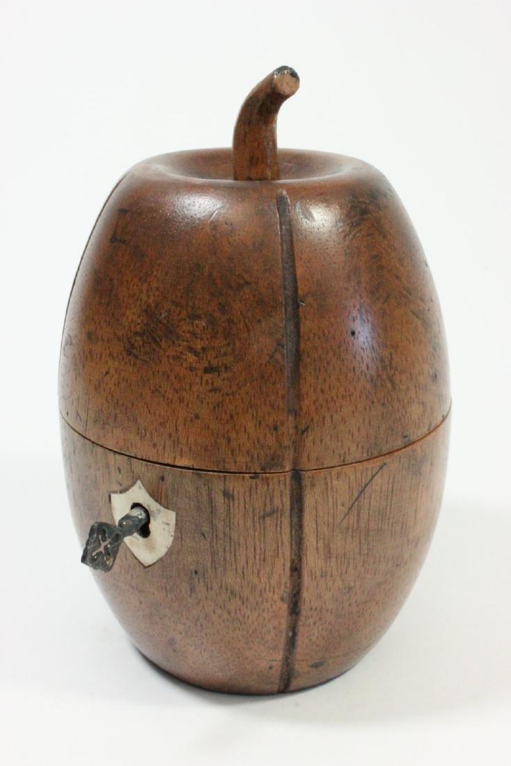 Wood Pear Shape Tea Caddy
