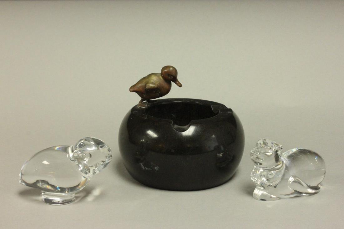 Baccarat Crystal Bird, Ashtray, & Crystal Cat