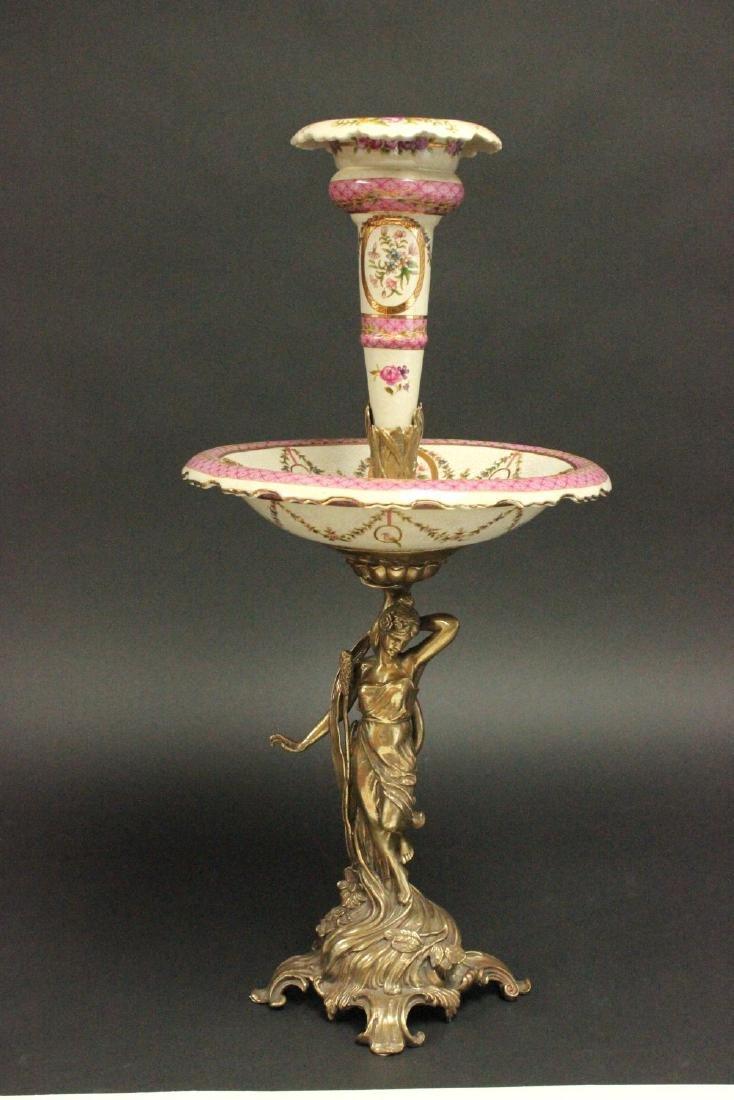 2-Tier Bronze & Porcelain Centerpiece