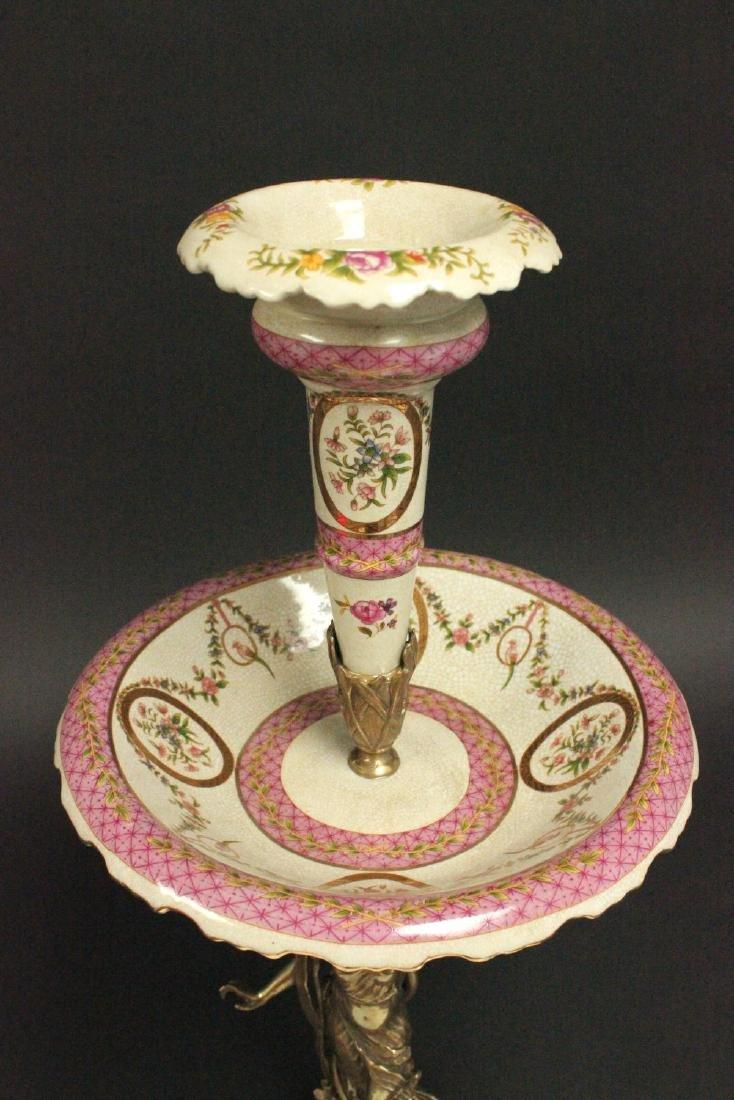 2-Tier Bronze & Porcelain Centerpiece - 2