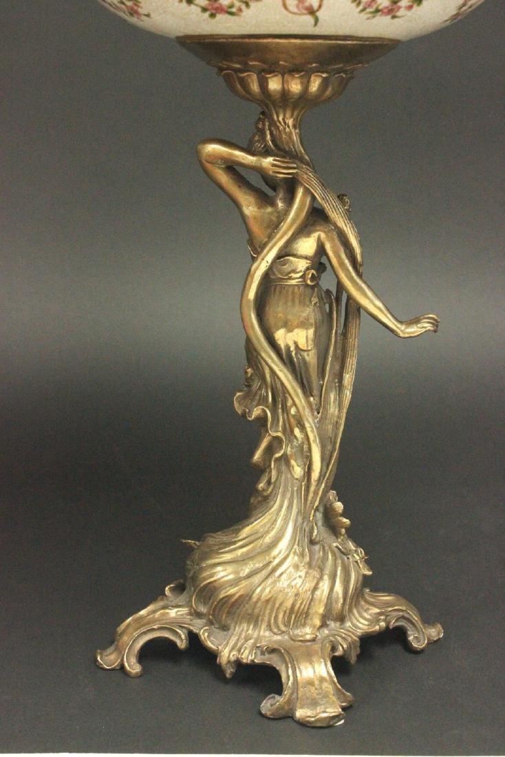 2-Tier Bronze & Porcelain Centerpiece - 4