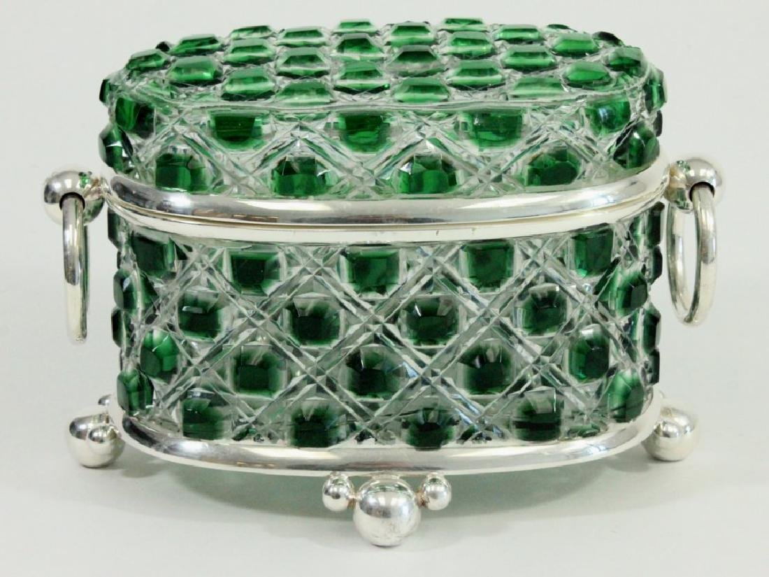 Green & Clear Cutglass & Silverplate Casket