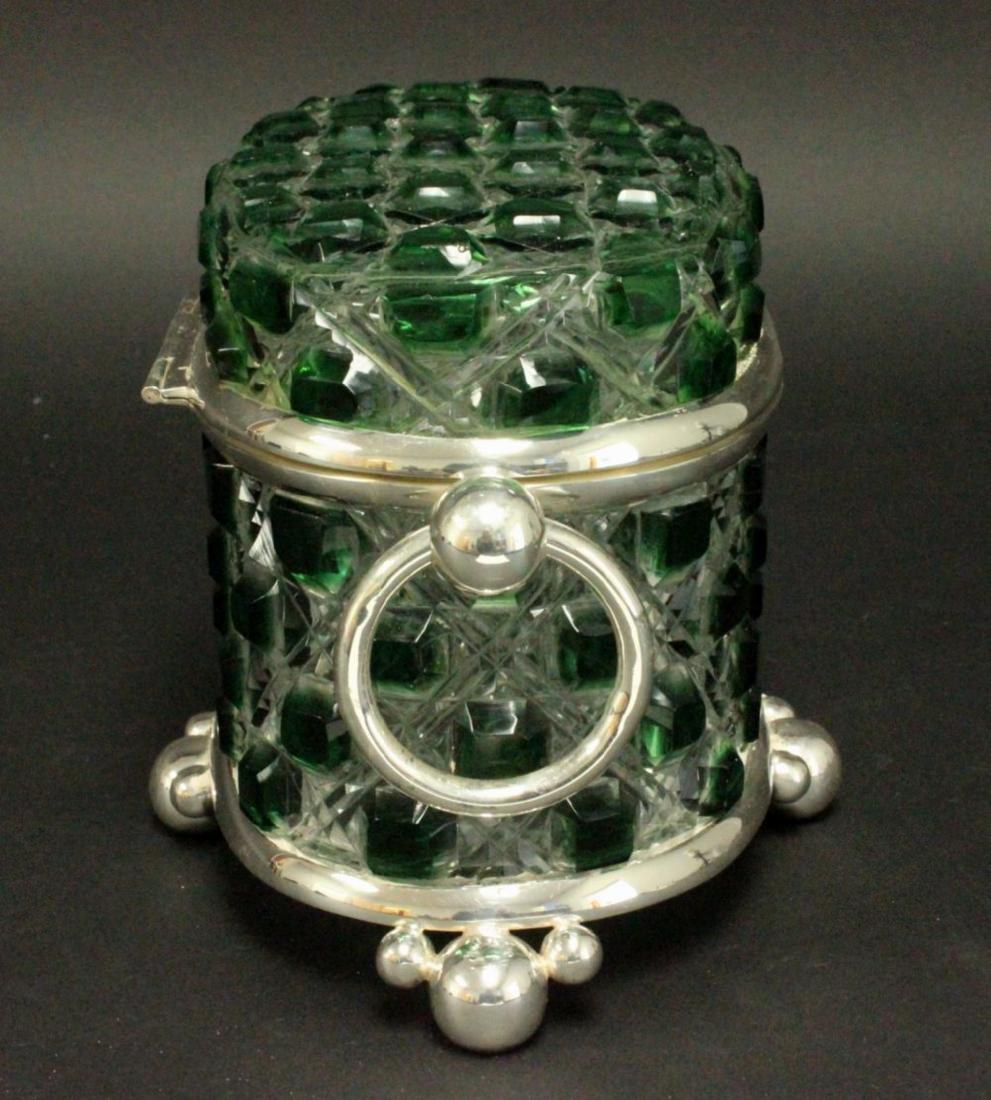 Green & Clear Cutglass & Silverplate Casket - 3