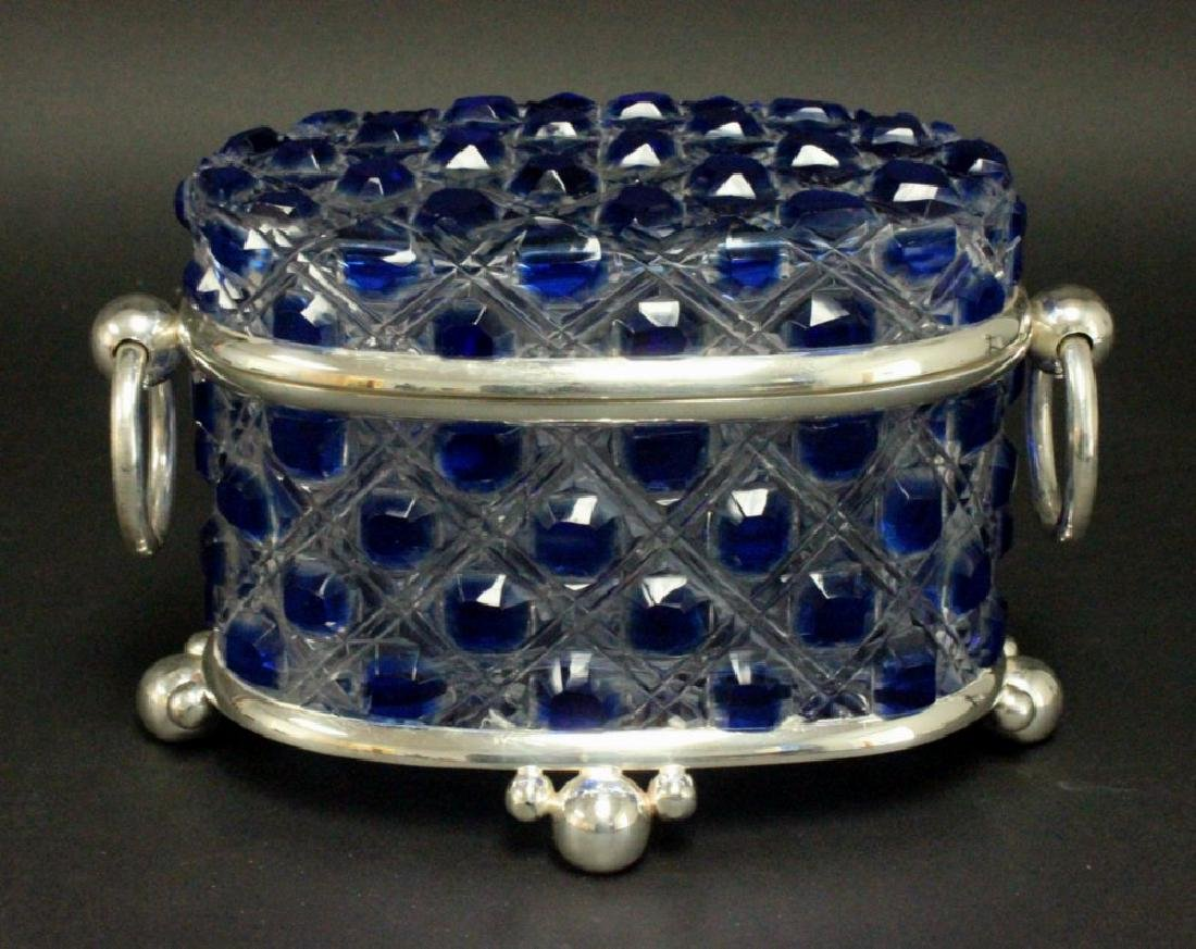 Blue & Clear Cutglass & Silverplate Casket
