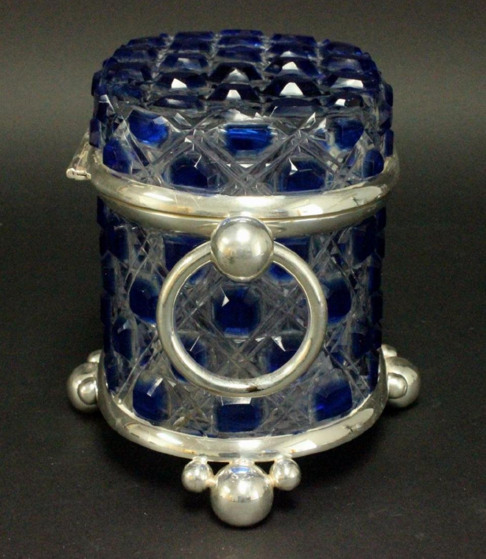Blue & Clear Cutglass & Silverplate Casket - 3