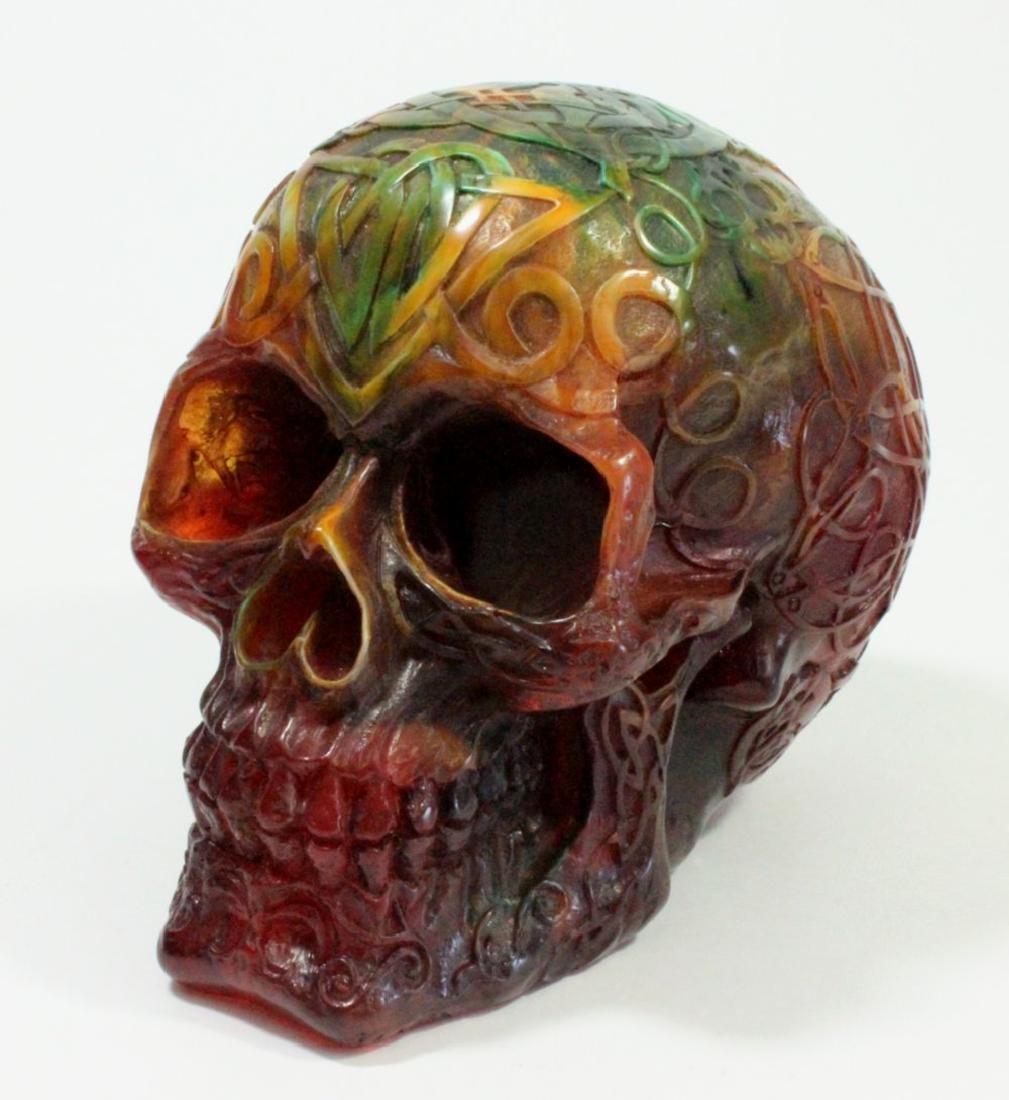 Carved Amber Style Skull
